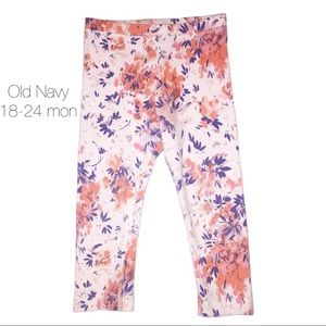Old Navy White Coral Floral Leggings 18-24 mon